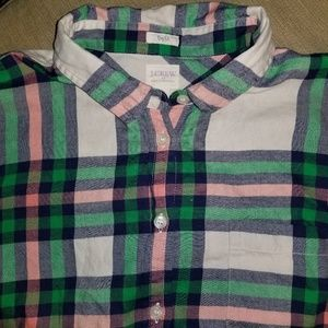 J. Crew Factory Flannel Shirt- Blue Green Coral